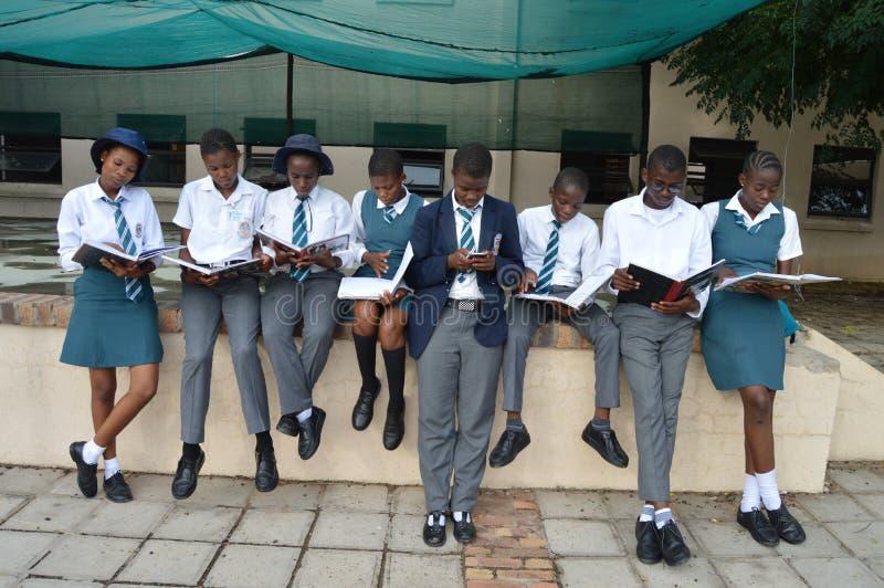 一学生繁忙发短信在一个小组学习中学生 免版税库存照片