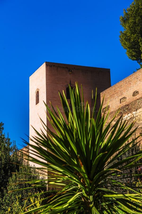 一宫殿复杂阿尔罕布拉塔在格拉纳达,西班牙 免版税库存照片