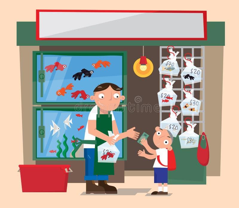 一家小水族馆鱼商店在香港 皇族释放例证