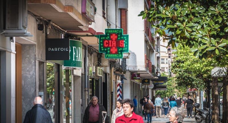 一家小街市商店的门面伊伦的,西班牙 免版税库存图片