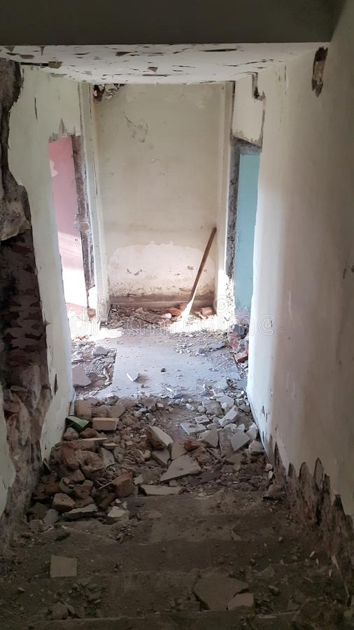 一家老旅馆的Stairwayroom 图库摄影