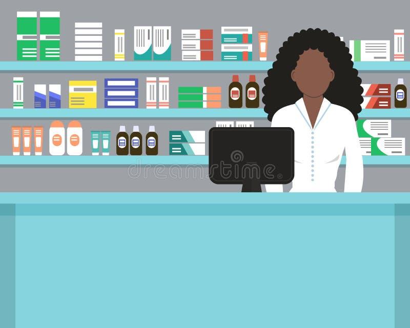 一家药剂师药房的网横幅在蓝色的 向量例证