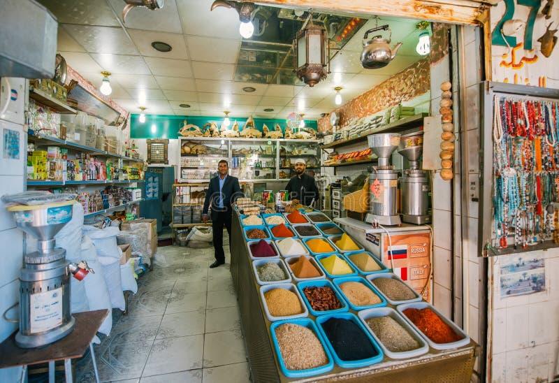 一家香料商店在亚喀巴,约旦 免版税库存图片