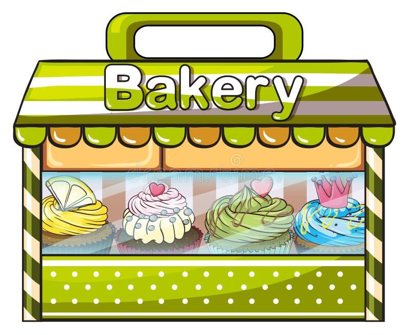 一家绿色面包店商店 库存例证
