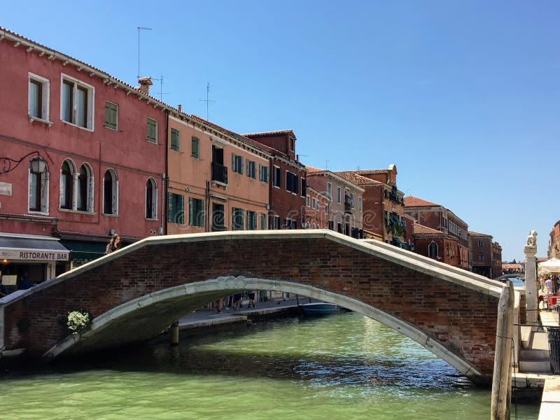 一对夫妇坐着水上出租车,在著名的威尼斯教堂圣玛利亚德拉礼塔运河拍照, 免版税库存照片
