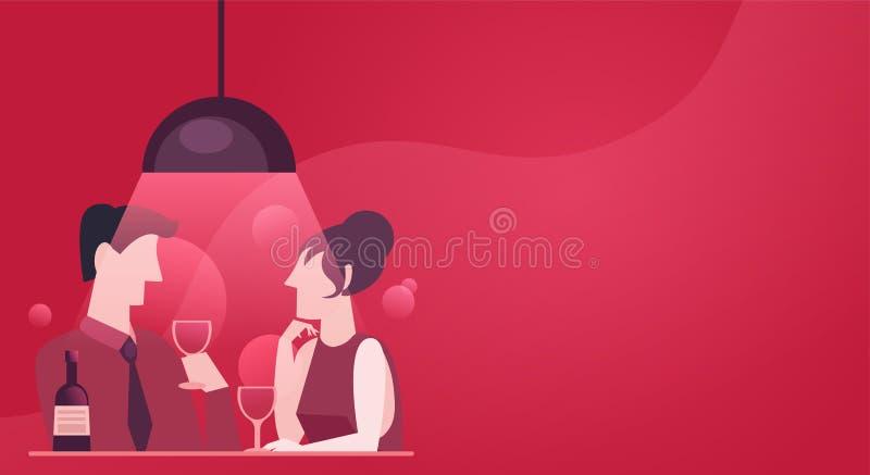 一对夫妇的一个快速的日期在爱的 晚上晚餐用酒 库存例证