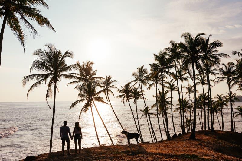 一对夫妇的剪影在爱的在海滩 库存照片