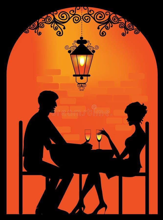 一对夫妇的剪影在餐馆的 向量例证