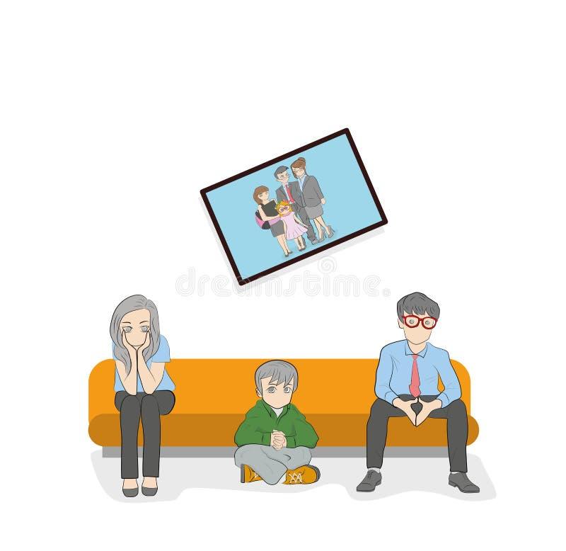 一对已婚夫妇坐长沙发 冲突情况 家庭关系的发展的概念 也corel凹道例证向量 向量例证