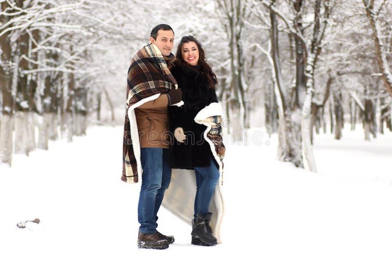 一对年轻夫妇在冬天公园走 免版税库存照片