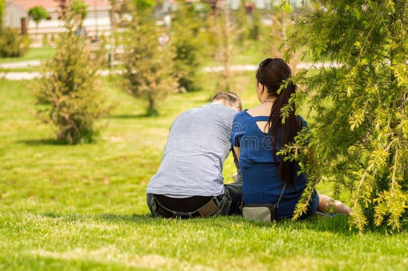 一对年轻夫妇的后部坐草在一个公园在一好日子 库存照片