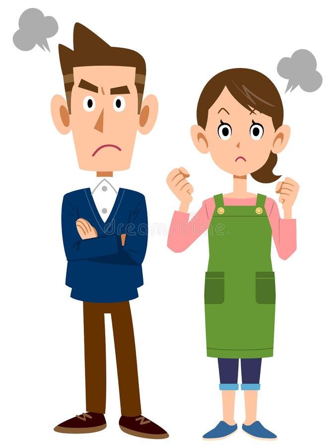 一对年轻夫妇的愤怒 向量例证