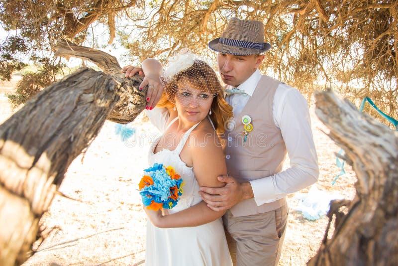 一对年轻新婚佳偶夫妇的肉欲的画象 室外新娘的新郎 免版税库存图片