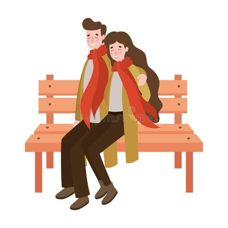 一对情侣坐在公园椅子上,穿着秋装 皇族释放例证