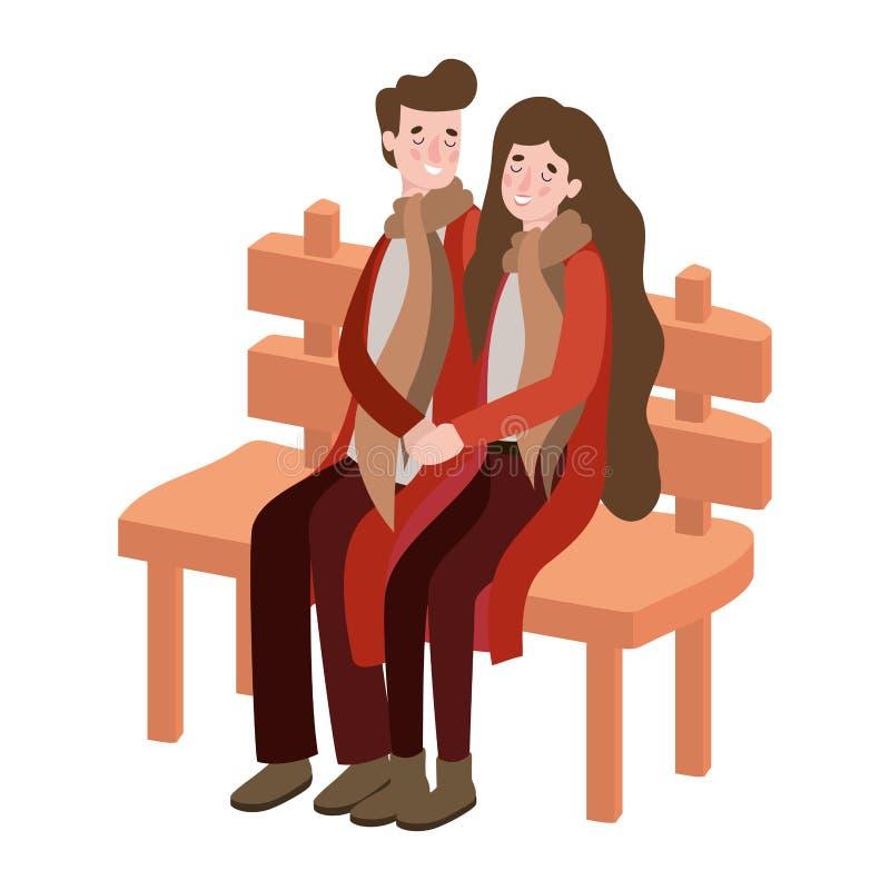 一对情侣坐在公园椅子上,穿着秋装 库存例证