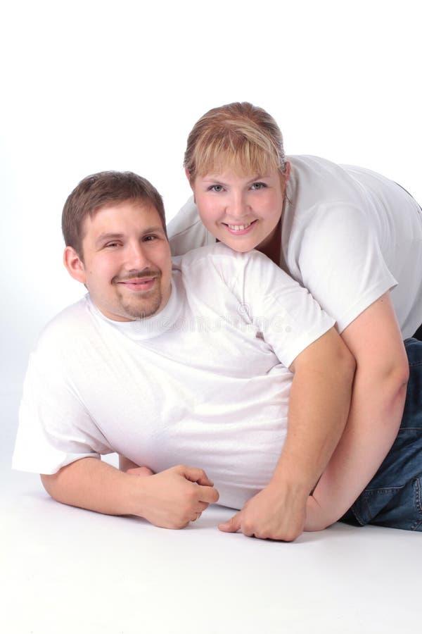 一对普通的夫妇的画象 免版税库存照片