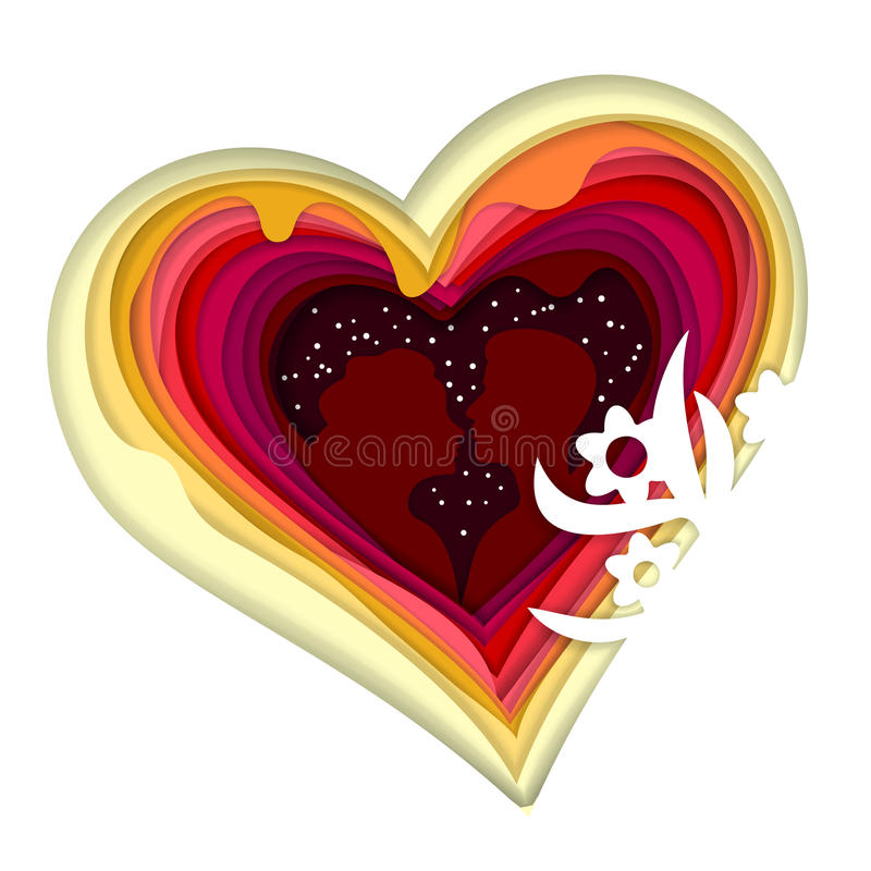 一对爱恋的夫妇的剪影在心脏背景的  层状的五颜六色的纸裁减 层数艺术 深度幻觉  皇族释放例证