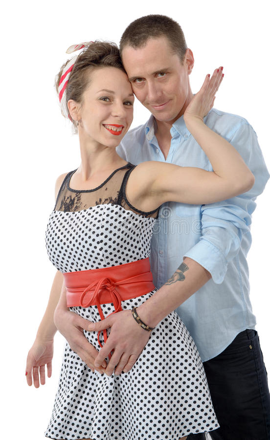 一对爱恋的夫妇的画象,在白色 免版税库存照片