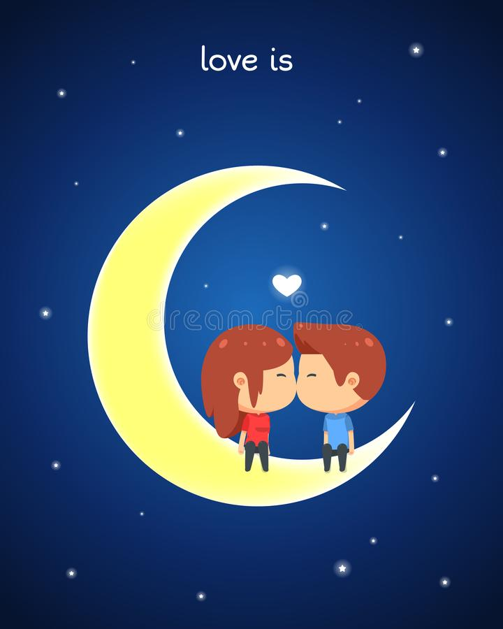 一对逗人喜爱的夫妇互相亲吻,当坐月亮时 库存例证