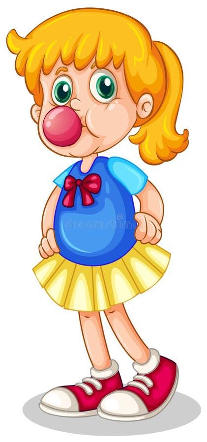 一小女孩吃bubblegum 皇族释放例证