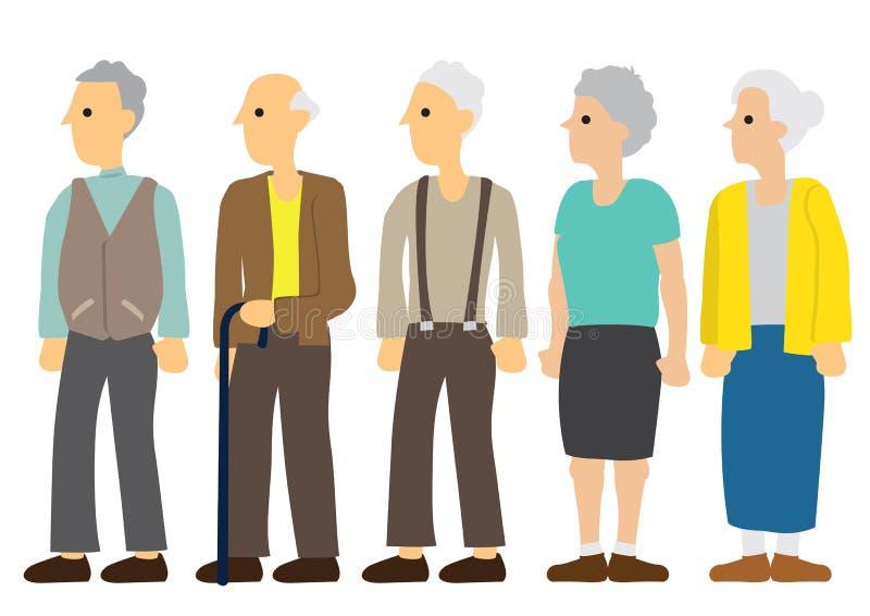 一小组年长男性和女性用不同的衣裳 向量例证