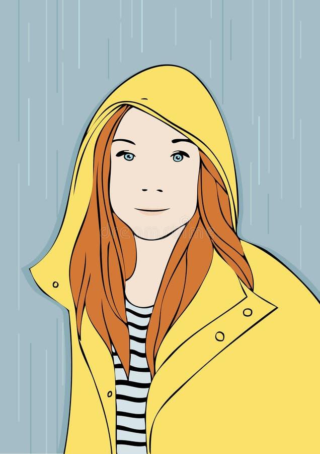 一少女的画象一件黄色雨衣的 库存图片