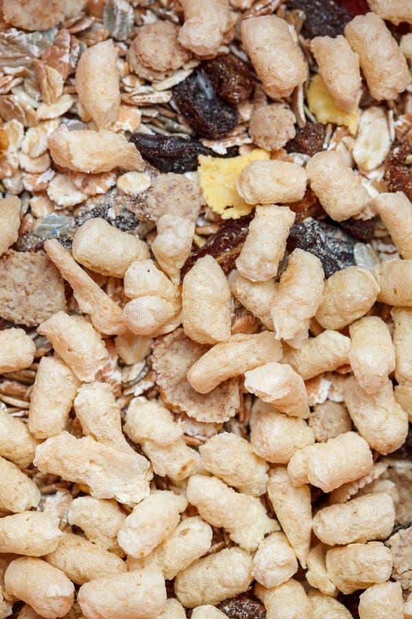 从一干燥muesli、葡萄干和燕麦的健康早餐剥落 食物由格兰诺拉麦片和muesli制成 免版税库存图片