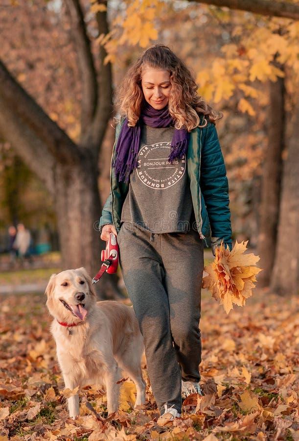 一年轻女人的画象有狗的在金黄秋天步行 免版税库存照片