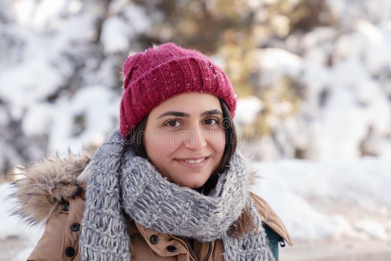 一年轻美女的画象在冬天 免版税库存图片
