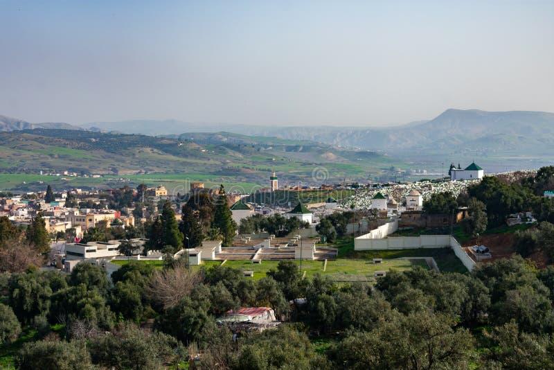 一座公墓概要在菲斯摩洛哥 库存照片