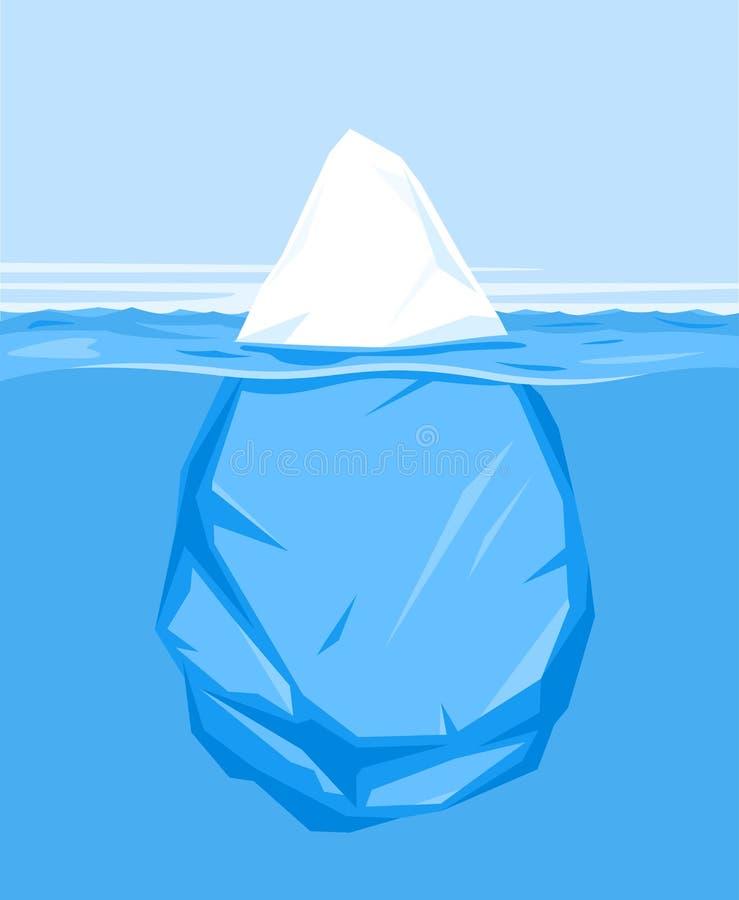 一座冰山在水中 库存例证