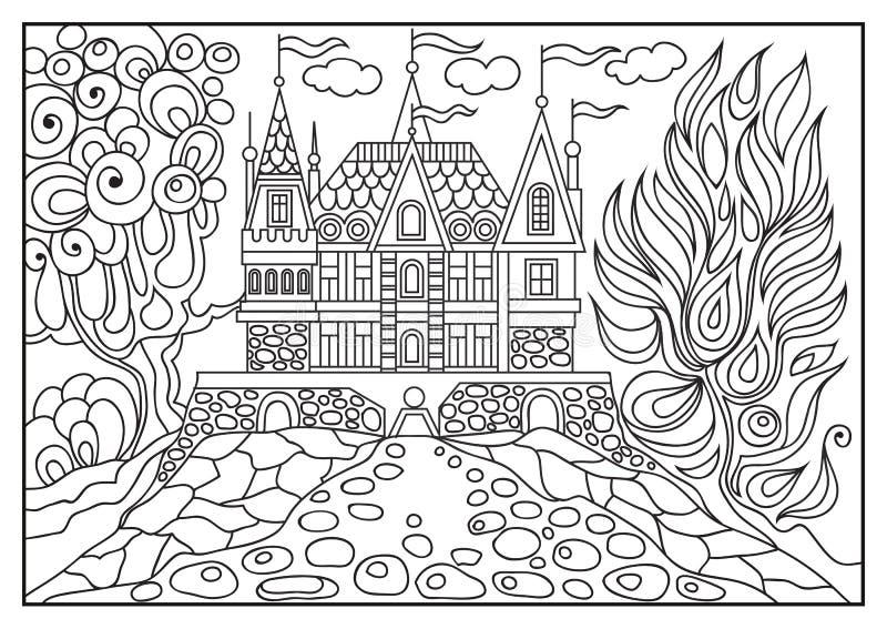 一座城堡的图解例证在背景的自然7 皇族释放例证
