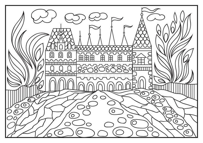 一座城堡的图解例证在背景的自然1 向量例证