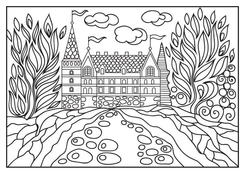 一座城堡的图解例证在背景的自然4 向量例证