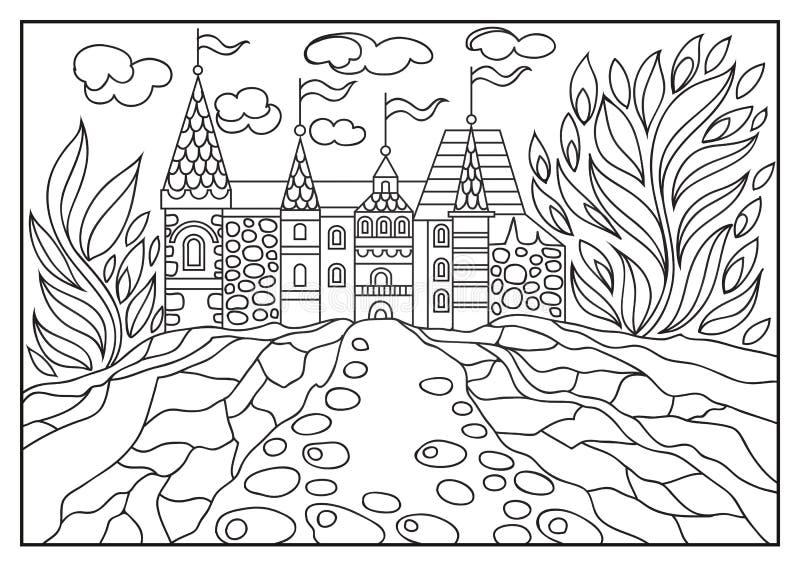 一座城堡的图解例证在背景的自然2 向量例证