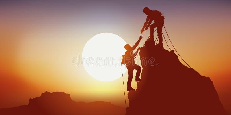 一座山的战胜上升的概念与两名登山家的团结的 向量例证