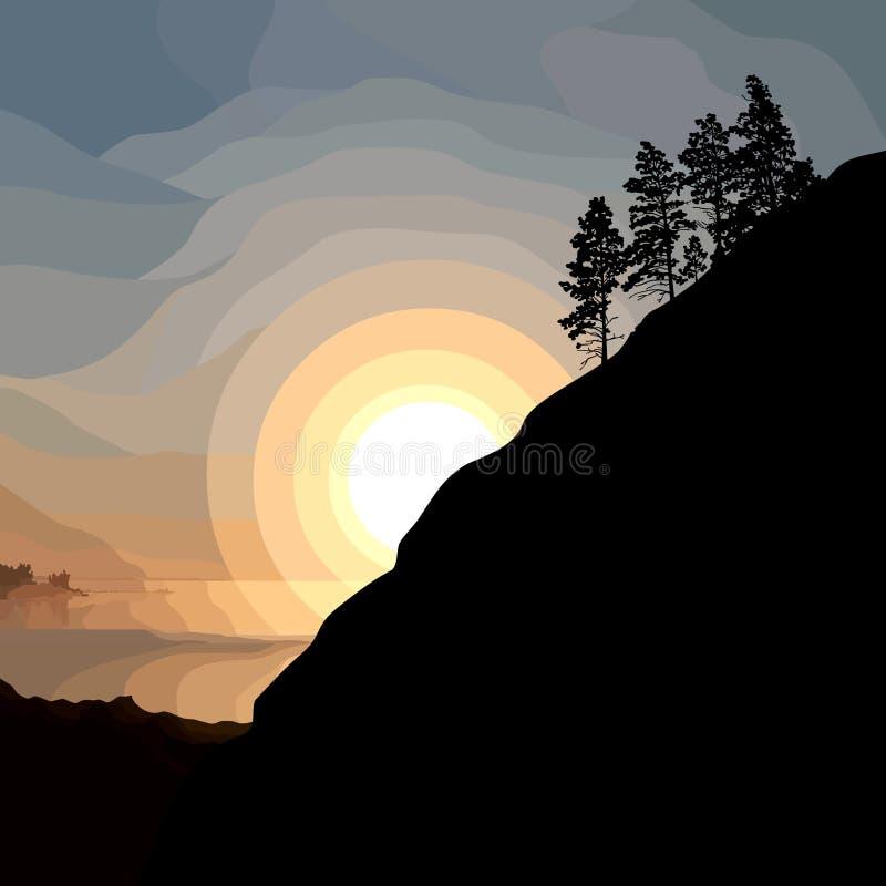 一座山的被绘的剪影与树的在日落背景 向量例证