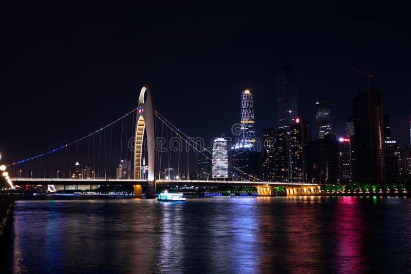 一座桥梁在广州,中国,称德国桥梁 免版税库存照片