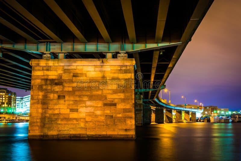 一座桥梁在晚上在华盛顿特区, 免版税库存照片