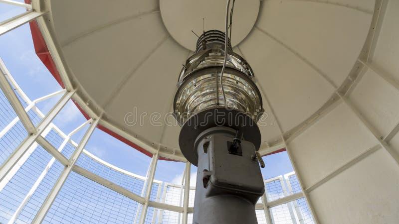一座灯塔的菲涅耳透镜的特写镜头在爱沙尼亚 免版税库存图片