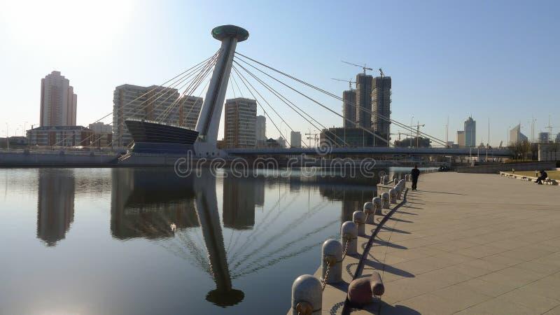 一座特别桥梁在天津市 免版税库存照片