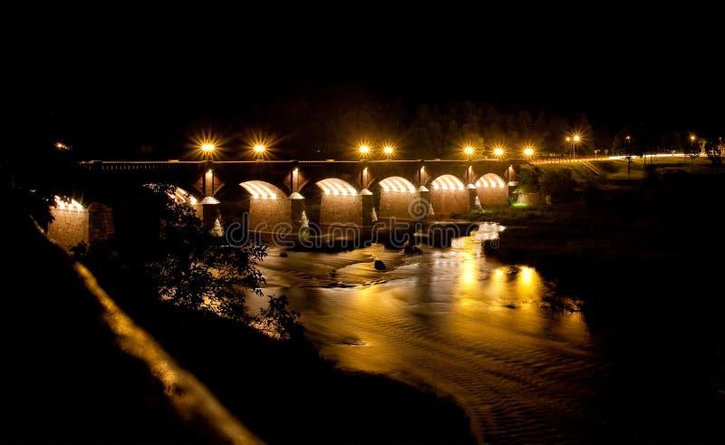 一座砖桥梁在Kuldiga,拉脱维亚 库存照片