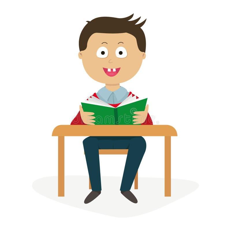 一张书桌的学生有课本的 库存图片