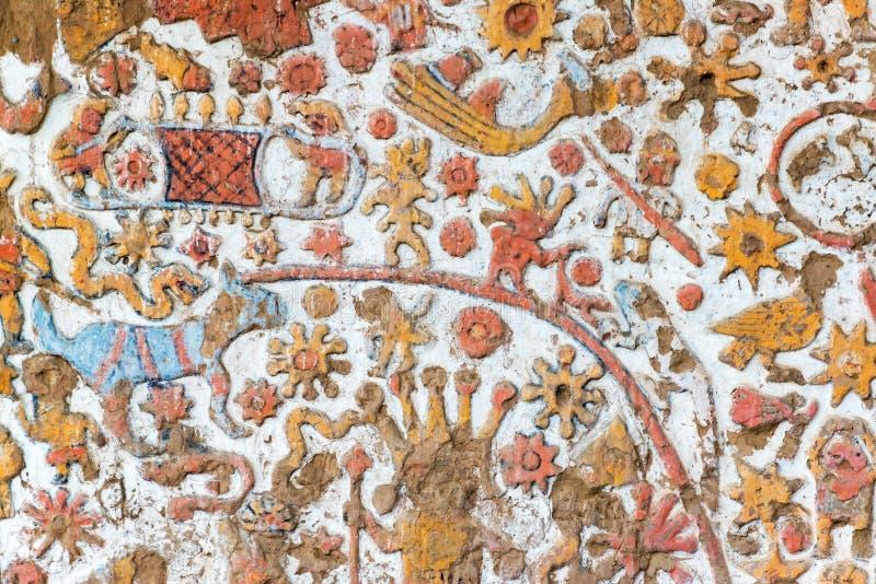 一张古老壁画的细节在秘鲁 免版税库存照片