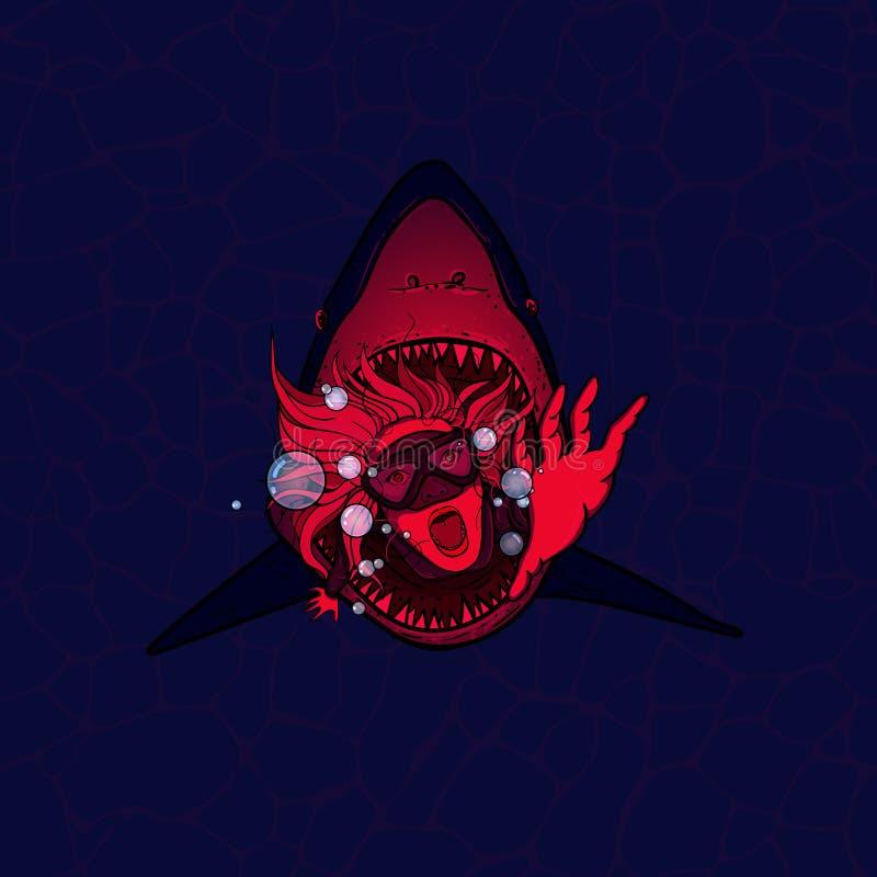 一张可怕和蠕动的传染媒介图片,鲨鱼攻击了一名轻潜水员 红色血淋淋的颜色 皇族释放例证
