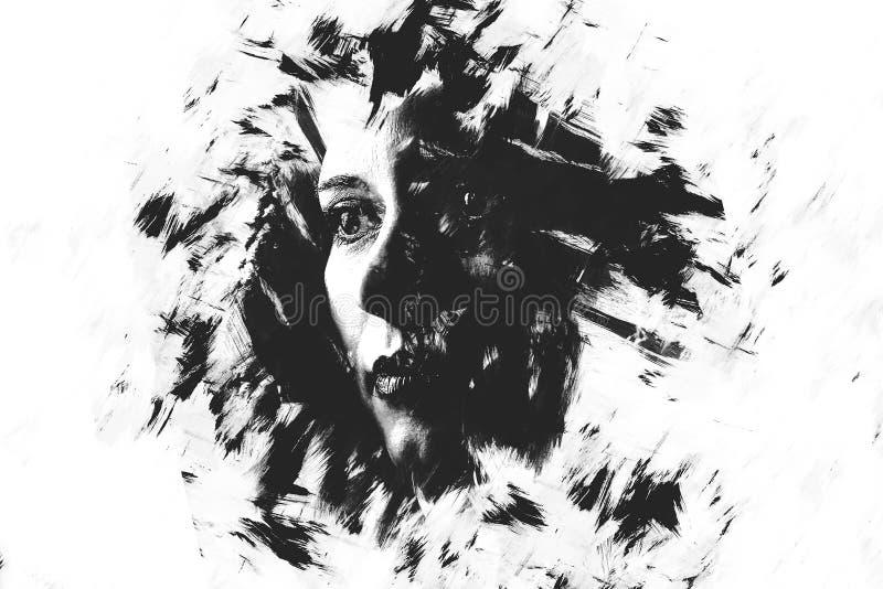 一张女孩创造性的画象的两次曝光 剧烈的艺术 库存照片