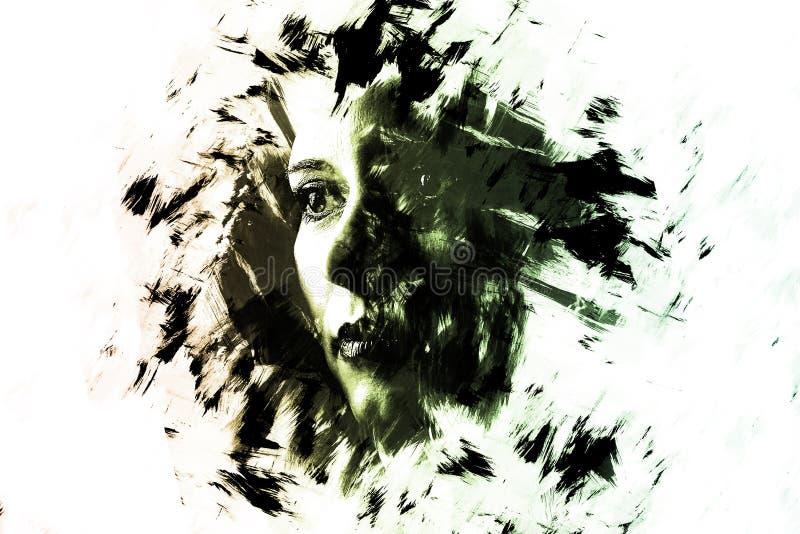 一张女孩创造性的画象的两次曝光 剧烈的艺术 库存图片