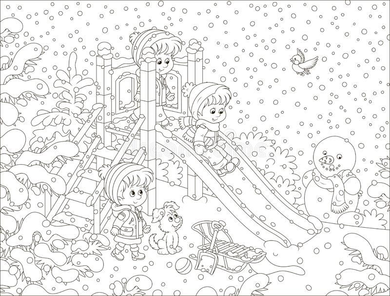 一张幻灯片的孩子在一个积雪的公园 向量例证