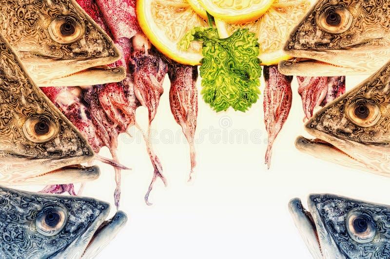 一张抽象数字式艺术拼贴画,海洋生物 库存照片