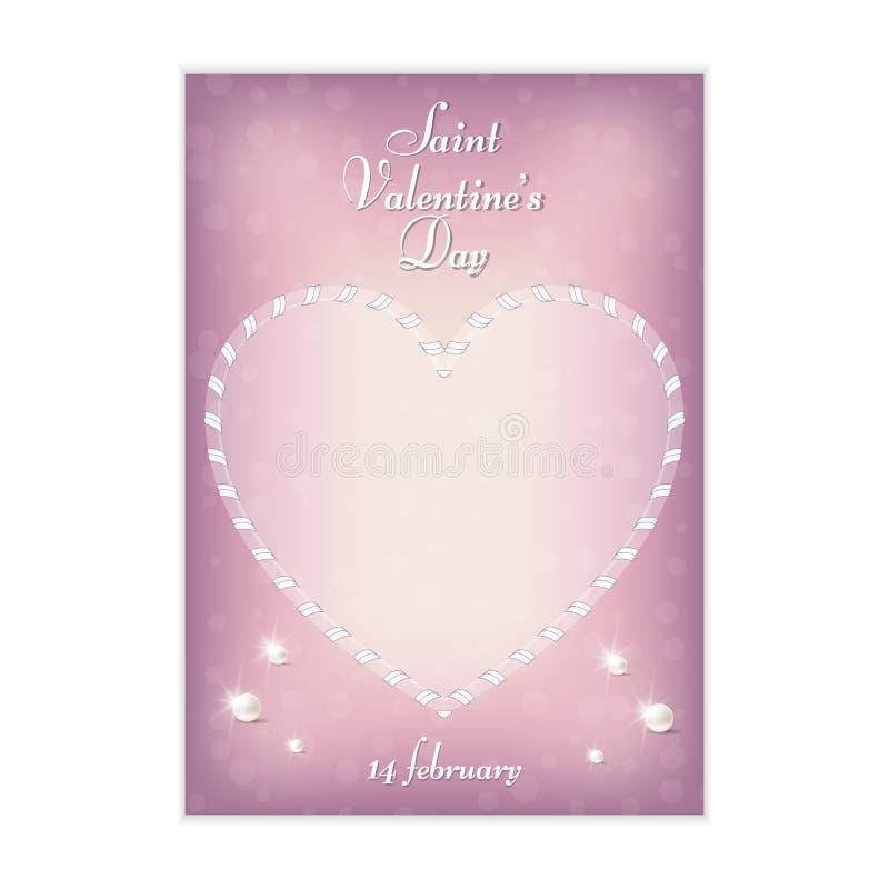 一张柔和的桃红色垂直的明信片对圣华伦泰` s天, 2月14日 以丝带的形式,心脏被做 对设计和pri 皇族释放例证